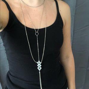 American Eagle Long Pendant Silver Necklace